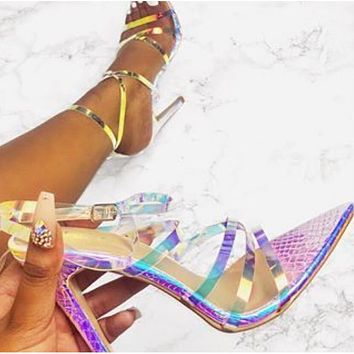 Serpentine transparent fruit STRAP HIGH HEEL SANDALS