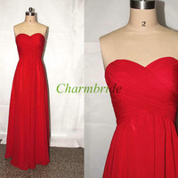 Gorgeous long red chiffon prom dresses,elegant sweetheart floor length prom dress,simple inexpensive gowns for evening.