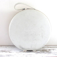 Vintage large white circle carry on suitcase or hat box / 1960s American Tourister Luggage