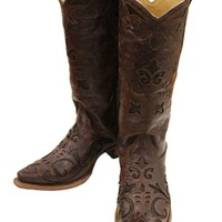 ONETOW Corral Brown Vintage Lizard Inlay Snip Toe Cowgirl Boots C2692