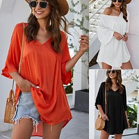 2020 new women's casual V-neck dress beach skirt dress