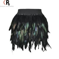 2016 Spring Autumn Latest New Women Feather Mini Skirt Elastic Waist High Street One Size Fits For XS-L Free Shipping