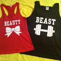 Free Shipping for US Beauty And The Beast Valentine's Day Matching Couples Tank Tops/Shirts: Black&Red Different Version