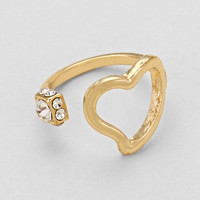 Open Cuff Heart Ring Gold