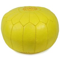 Yellow Moroccan Pouf Round Genuine Leather