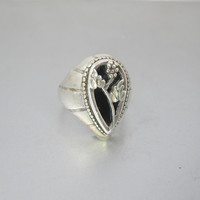 Sterling French Jet Ring. Art Nouveau Black Jet Grape Cluster Sterling Silhouette Ring. 1940's Nouveau Jewelry.