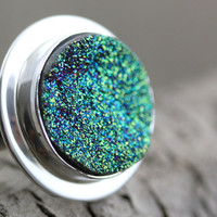 Druzy Ring, Size 7 - Sterling Silver with Titanium Drusy