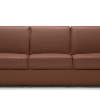 Sangro Queen Leather Sleeper Sofa with Greenplus Memory Foam Mattress by Natuzzi Editions in Matera Chesnut