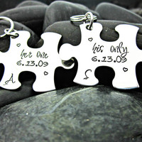 Her One His Only Puzzle Piece Couples Matching Keychains