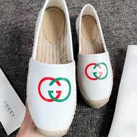 GUCCI Newest Fashion Woman Casual Leather Comfortable Single Shoes Fisherman Shoes