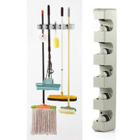 Kitchen Accessories Wall Mounted Hanger 5 Position Kitchen Storage Mop Brush Broom Organizer Holder Tool FEN#