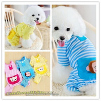 Dogs Stripes Pajamas Coat Pets Dogs Cute Cozy Comfortable Cotton Footie Pajamas = 1930018052