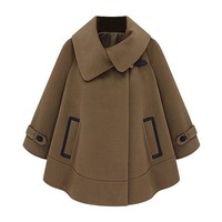 ZLYC Women's Warm Woven Wool Winter Cape Coat with Contrast Pockets