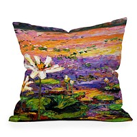 Ginette Fine Art Lily Pads Pond Throw Pillow
