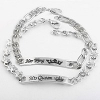 Cool New Arrival Her King & His Queen Bracelet Silver Color Crown pattern Bracelets Charm Jewelry For Couples Women Men GiftAT_93_12