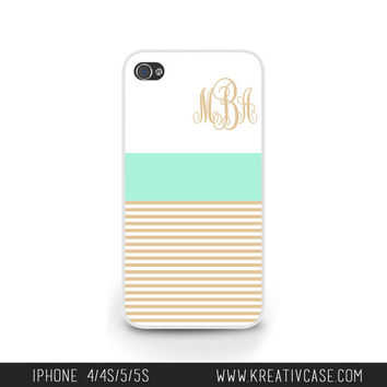 Monogrammed iPhone Case, iPhone 4, iPhone 4S, Mint and Cream Stripes iPhone Case, Personalized iPhone Cover - K216