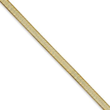 3mm, 14k Yellow Gold, Solid Herringbone Chain Necklace