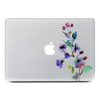 "iCasso Watercolor Flower Removable Vinyl Decal Sticker Skin for Apple Macbook Pro Air Mac 13"" inch / Unibody 13 Inch Laptop"