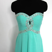 Custom Made Sequins Bodice Keyhole Front Turquoise Long Prom Dress/ Formal Evening Dress/ Celebrity Dress/  Blue Prom Gown by wishdress