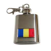 Thin Bordered Romania Flag Pendant 1 Oz. Stainless Steel Key Chain Flask
