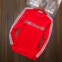 "Vogew ""Adidas"" Multi-color Letter and Logo Print Long Sleeve Sweater(5-Color) Red I-YSSA-Z"