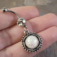 White Opal Belly Button Jewelry Ring Synthetic Opal