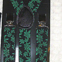 Marijuana MJ Weed Leave Bow tie and MJ  Weed Adjustable Suspenders Combo-New!