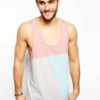 ASOS Tank With Cut And Sew Panels And Extreme Racer Back - Pink/mint/