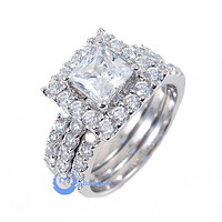 1.25ct Princess Cut Engagement Wedding Set 3 Rings Signity CZ Rhodium Sterling Silver
