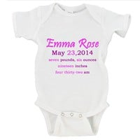 Custom Baby Girl Birth Announcement Gerber Onesuit ®