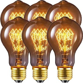 Edison Bulb, FadimiKoo Vintage Bulb 60W Dimmable A19 Squirrel Cage Filament Edison Lihgt Bulb for Home Light Fixtures Decorative, Pack of 6 6 Pack