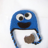 Monster Hat CROCHET PATTERN, Cookie Monster Hat, Elmo Hat, Beanie and Earflap, Newborn to Adult