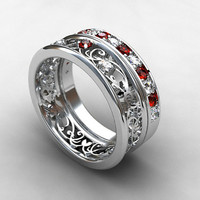engagement ring set,Red sapphire ring, engagement ring, filigree ring, white gold, yellow gold, red engagement, white sapphire, eternity