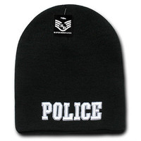 Police Embroidered Military Law Enforcement Toboggan Knit Watch Cap- Black