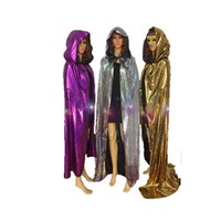Sliver Gold Purple Cape Halloween Costumes for Women Man Fancy Dress Carnival maid party Death Wizard Cloak S-XL Free shipping
