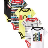 DC Shoes Co Baby-Boys Newborn 5 Pack Bodysuits - Yellow Black Red Group