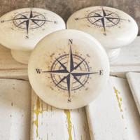 """Handmade Nautical Birch Wood Knob Drawer Pulls, Antique Style Navy Blue Compass Cabinet Pull Handles, 1.5"""" Sea Dresser Knobs, Made To Order"""