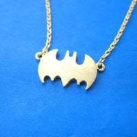 Batman Logo Bat Shaped Silhouette Symbol Charm Necklace in Gold | DOTOLY