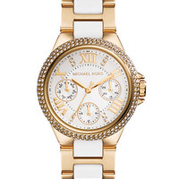Michael Kors Women's Chronograph Mini Camille White and Gold-Tone Stainless Steel Bracelet Watch 33mm MK5945