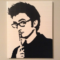 Doctor Who Duct Tape Painting: MADE TO ORDER Black and White 16 x 20