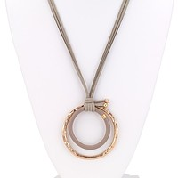 Double Link Long Leather Necklace