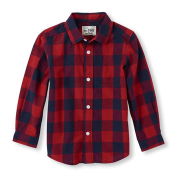 Long Sleeve Check Print Button-Down Shirt | The Children's Place