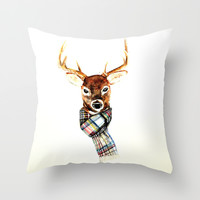 Deer buck with winter scarf - watercolor Throw Pillow by Craftberrybush