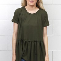 Cutest Suedette Relaxed Peplum Ever {Olive}