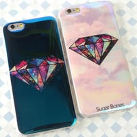 Blue laser diamond mobile phone case for iPhone 7 7 plus iphone 5 5s SE 6 6s 6plus 6s plus + Nice gift box!