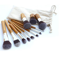11 Pcs Fiber Nylon Bamboo Handle Makeup Brush Set