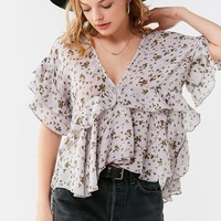 UO Plunging V-Neck Ruffle Top | Urban Outfitters