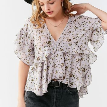 UO Plunging V-Neck Ruffle Top   Urban Outfitters