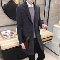 Men's 2016 autumn new shelves, fashion men's British style woolen coat, men's windbreaker and long sections Slim woolen coat