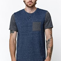 On The Byas After Henley Crew T-Shirt - Mens Tee - Blue